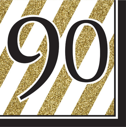Creative Converting Black And Gold 90Th Birthday Napkins