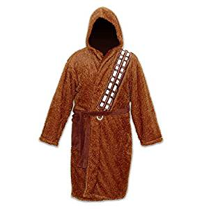 Chewbacca Star Wars Fleece Robe Brown Sash over Shoulder With Hood Brown Belt Adult One Size