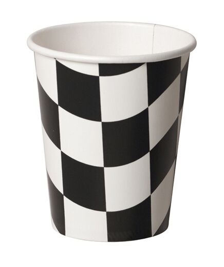 Creative Converting 8 Count Hot Or Cold Beverage Cups, Black And White Check
