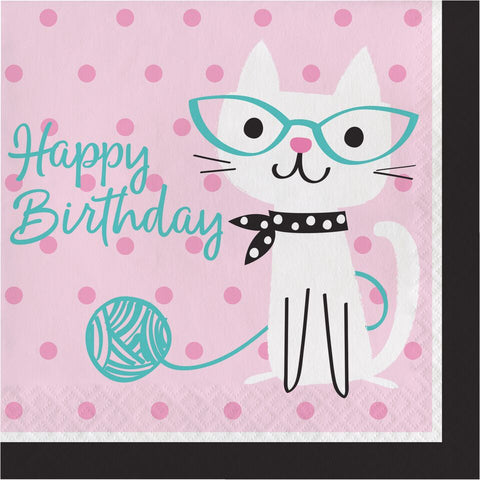 Purrfect Party Lunch Napkins Happy Birthday 2 Ply