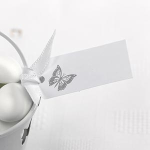 10 Small Plain Blank Silver White Butterfly Luggage Favour Tags Wedding Label