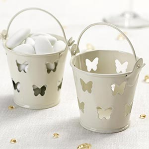 5 Ivory Butterfly Tin Favour Pails Buckets Almonds Sweets T Lights Vintage Party