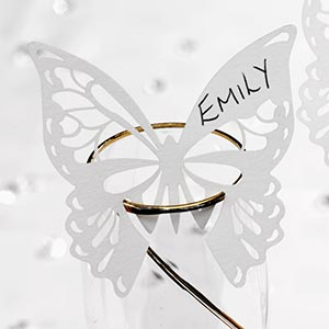 10 White Butterflies Wine Glass Place Name Cards Laser Cut Elegant Butterfly