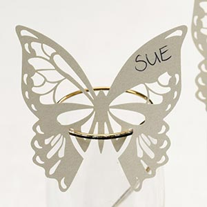 10 Ivory Butterflies Wine Glass Place Name Cards Laser Cut Elegant Butterfly