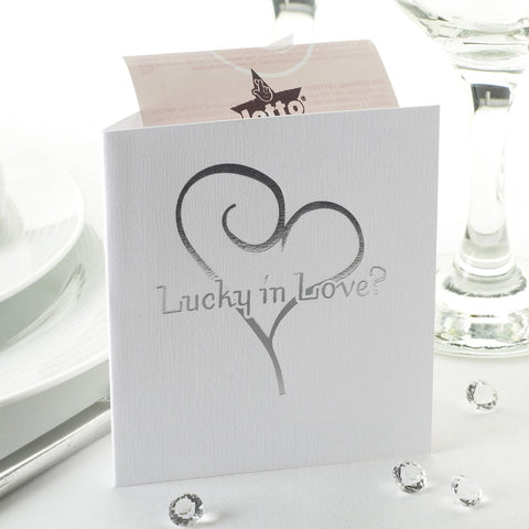 10 White & Silver Heart Lottery Ticket Holders Wedding Favour Gift Scratch Card
