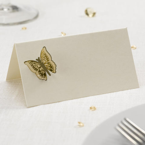 Butterfly Table Place Name Cards Pack 10 Ivory Gold Settings Wedding Party