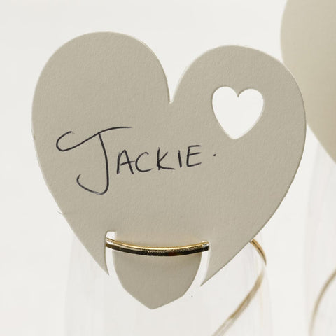 Ivory Heart Wine Glass Table Place Cards Name Setting Wedding Decorations