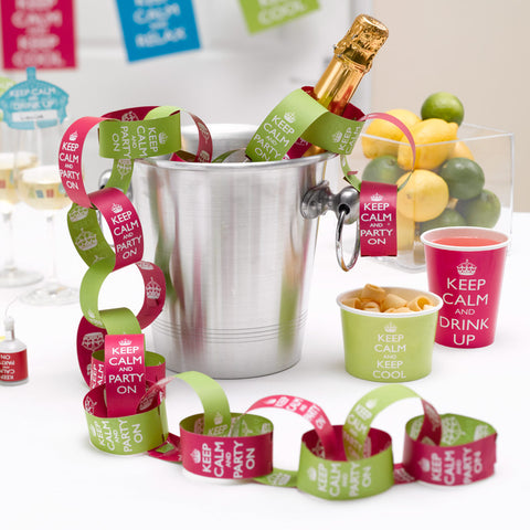 Keep Calm And Party Paper Chains Pink/Lime