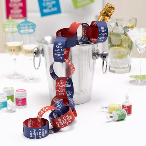 Keep Calm And Party Paper Chains Red/Purple