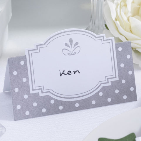 50 Table Place Cards Wedding White Silver Chic Boutique Name Engagement Party
