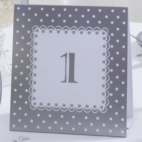 Table Numbers 1 To 12 White Silver Tent Cards Chic Boutique Weddings Parties
