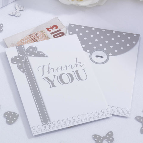 Pack Of 10 Chic Boutique White & Silver Thank You Money Envelopes