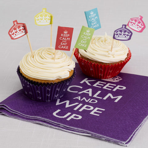 Keep Calm And Party On Cupcake Picks, 20 Food Flags Multicoloured