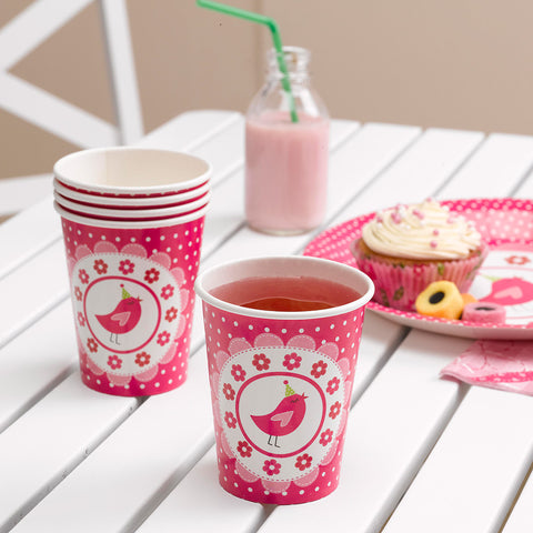 8 A Little Bird Told Me Paper Cups Girls Birthday Pink Party Tableware