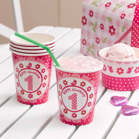 8 A Little Bird Told Me Happy 1St Birthday Paper Cups Girls Birthday Pink Party