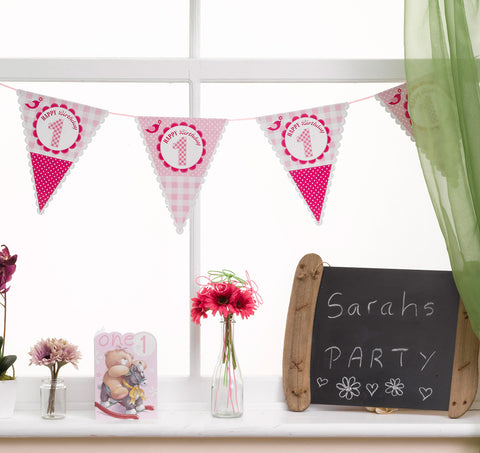 A Little Bird Told Me Happy 1St Birthday Bunting, Gilrs Pink Party 2.5M