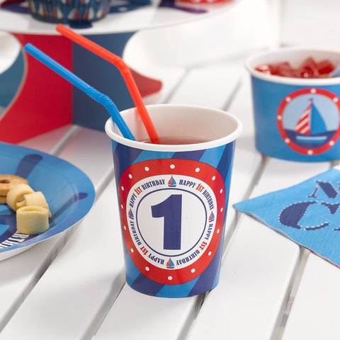 1st Birthday 'Ahoy There' cups