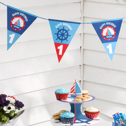 Bunting Age 1 1St Birthday Party Boys Ahoy There Sailing Boat Decoration