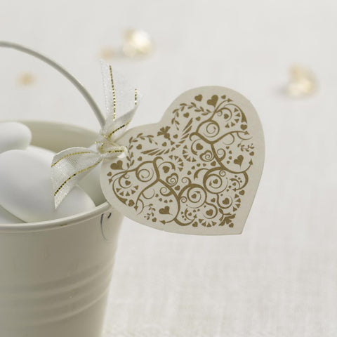 10 Small Plain Blank Ivory Gold Heart Luggage Favour Tags Wedding Label Swing