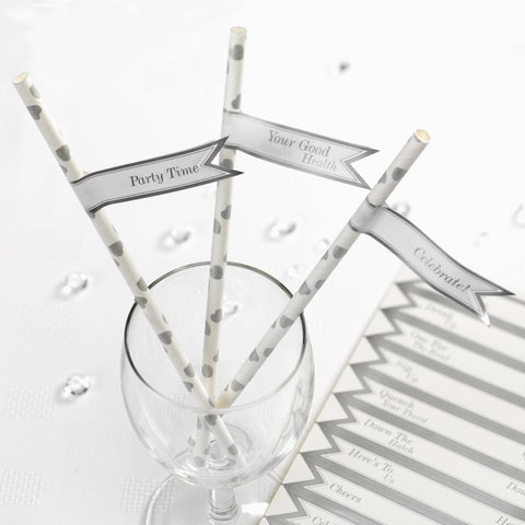 Pack 30 Vintage Romance White & Silver Straw Flags Wedding Party