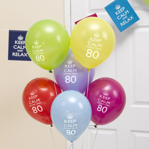 Keep Calm & Party On 80Th Balloons