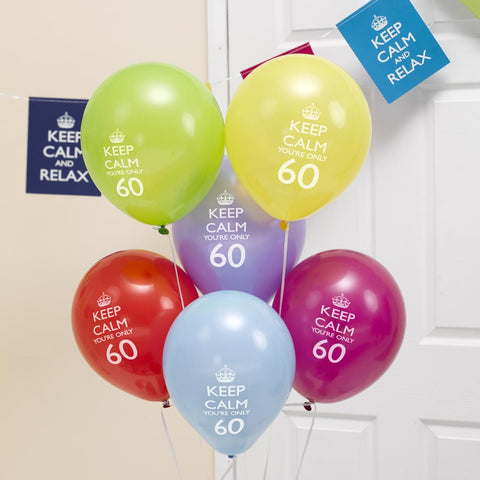 8 X 60Th Birthday Balloons Keep Calm & Party On Decorations You\\\'Re Only 60