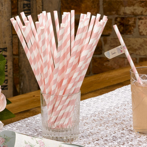 Pack Of 25 With Love Paper Straws Pink And White Wedding Retro Straws