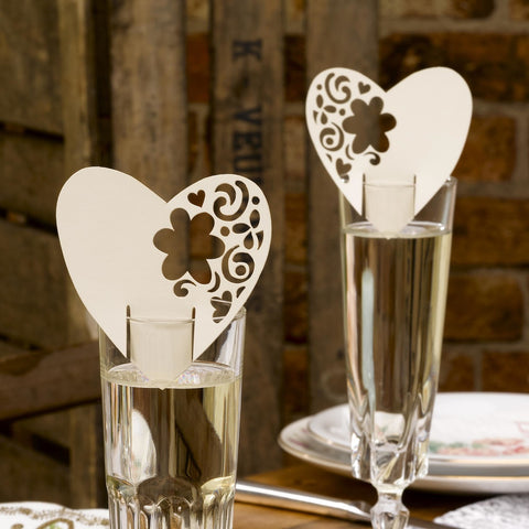 With Love Rustic Vintage Wedding Place Cards For Glasses / Table