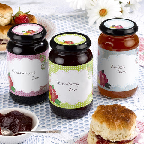 Jam Jar Labels X9 Includes Stickers For Lids Personalise Home Made Gifts