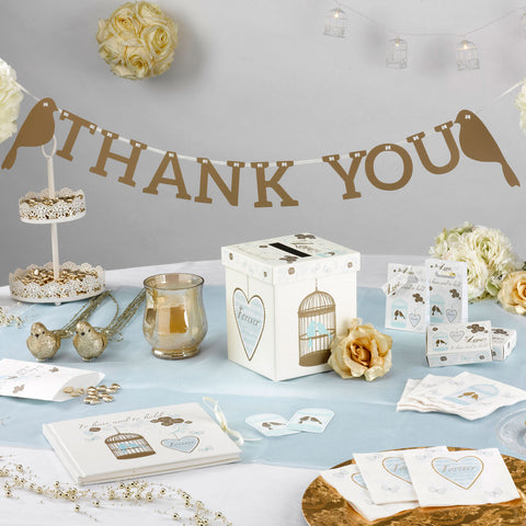 Thank You Bunting Flags Gold 1M Vintage To Have & To Hold Wedding Love Birds