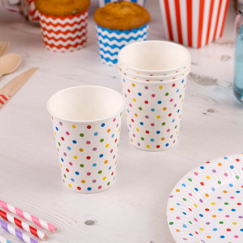 Carnival Multi Colour Dots Paper Cups - Pack Of 8