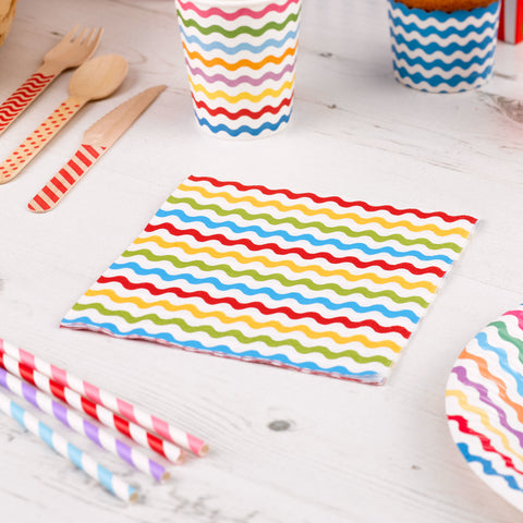 Carnival Multi Waves Napkins - Pack Of 20