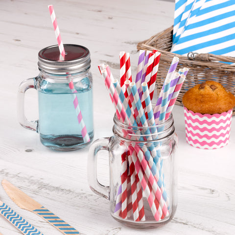 25 X Paper Straws Stripes Multi