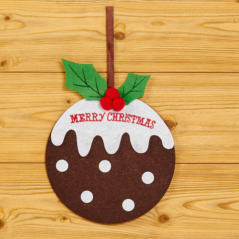 1 X Felt Merry Christmas Pudding Hanging Decoration Christmas