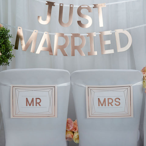Geo Blush Mr & Mrs Chair Bunting