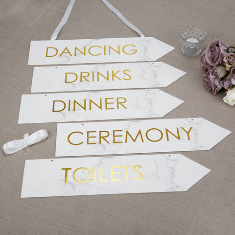Scripted Marble Wedding Signs