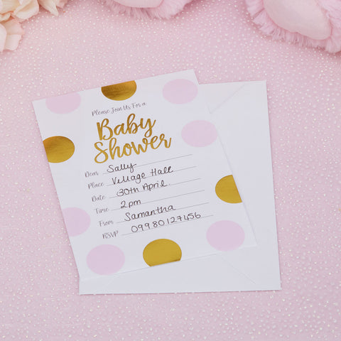 Pattern Works 10 Pink Baby Shower Invitations