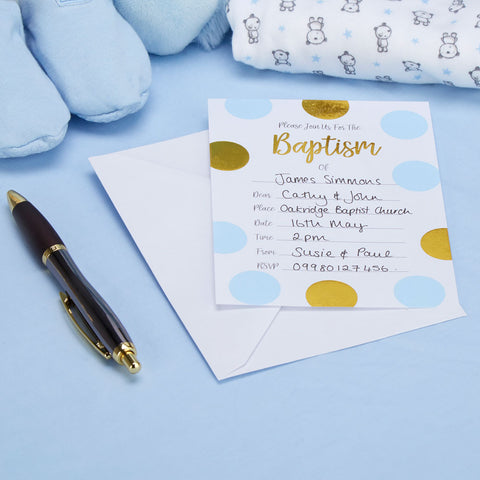 Pattern Works Blue 10 X Baptism Invitations