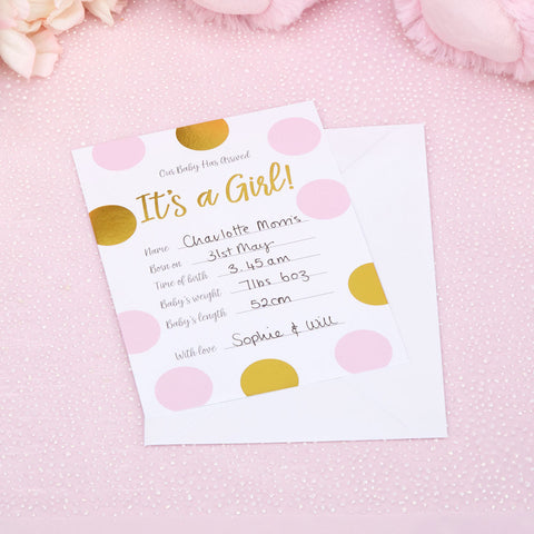 Pattern Works 10 Pink Baby Announcxment Cards