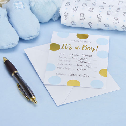 Pattern Works 10 X Blue Baby Announcement Cards