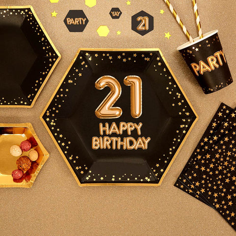 Glitz & Glamour Black & Gold Plate - Large - Age 21 - 8 Pack