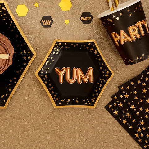 Glitz & Glamour Black & Gold Plate - Small - Yum - 8 Pack