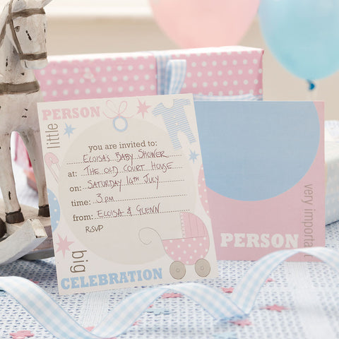 Feet Invitations, Baby Shower Message Advice, Pink & Blue Party Supplies,
