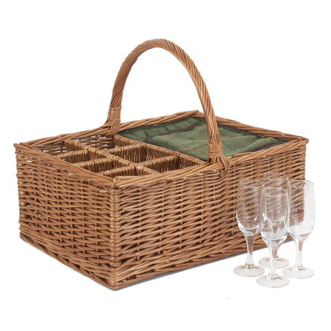 Green Tweed Field Basket With 4 Glasses