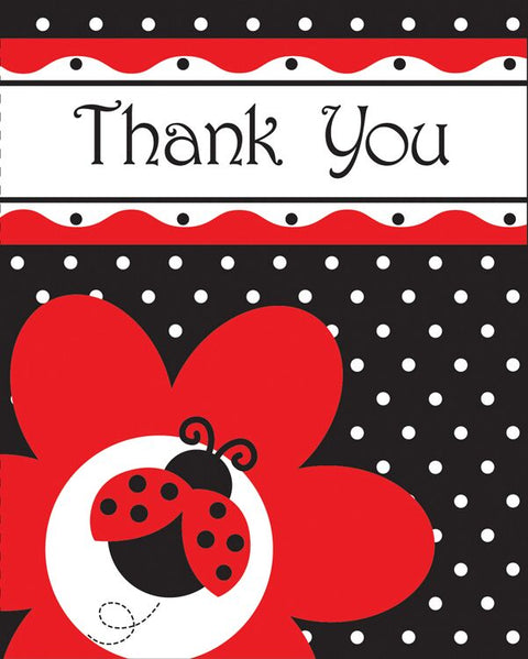 Creative Converting Ladybug Fancy Thank You Notes, 8 Count