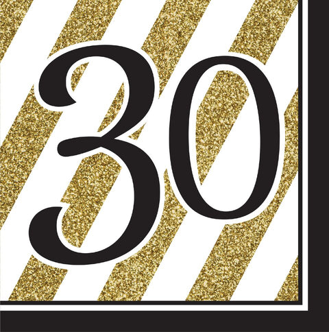 Black & Gold 30Th Birthday Lunch Napkins Pkg/16