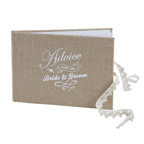 A Vintage Affair Wedding Bride & Groom Burlap Hessian Guest Advice Book
