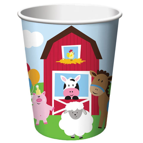 Farm House Fun Animals & Barn Birthday Party Hot / Cold Paper Cups