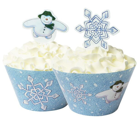 12 X Chirtsmas Snowman & Snowdog Cupcake Wraps & Toppers Cases Cup Cake Picks