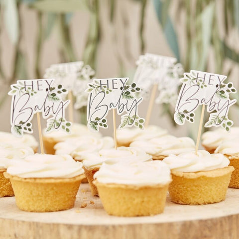 Hey Baby Shower Botanical Cupcake Toppers